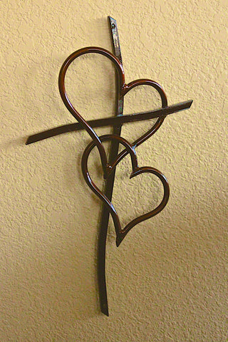 Double Heart Cross Copper