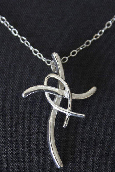 Sterling Silver Fishers of Men Cross Necklace