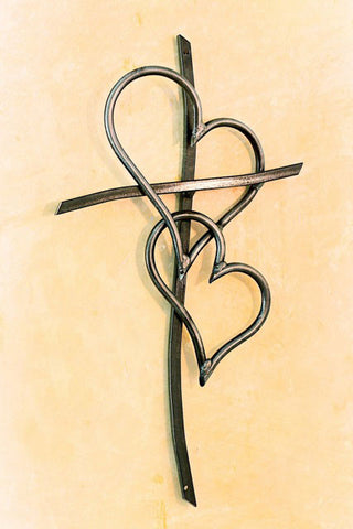 Double Heart Cross Clear - Comes in 3 Sizes
