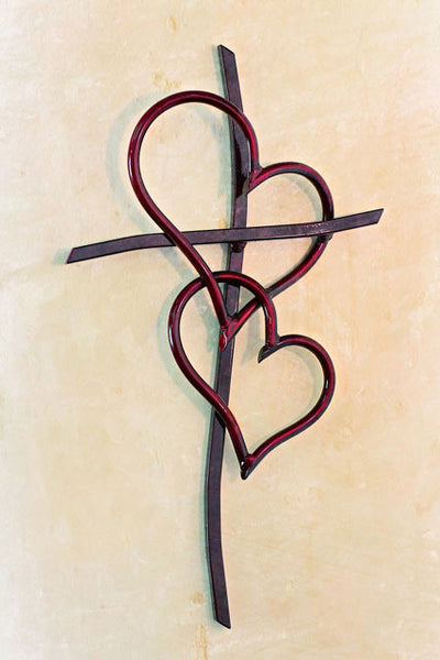 Double Heart Cross RED - Comes in 3 Sizes