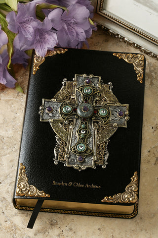 Jeweled Turquoise & Amethyst Celtic Cross Bible KJV