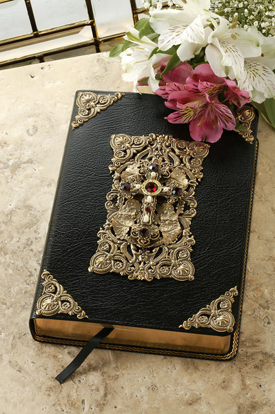 Decorated Cross Black Giant Print Leather Bible with Ruby Crystals - KJV