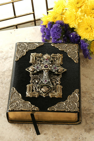 Jeweled Family Large Print Leather Bible with Amethyst Crystals KJV