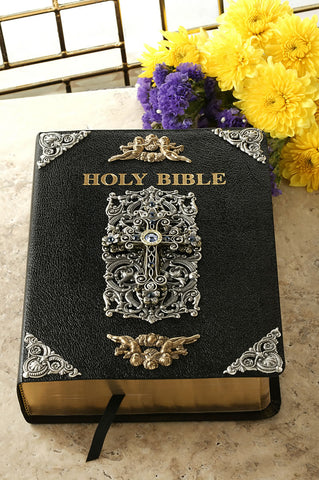 Jeweled Sapphire Crystal Cross Large Print Leather Bible,  NAB Catholic