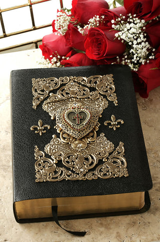 Heart Locket Ruby Crystals Decorated Cross Bible,  NAB Catholic