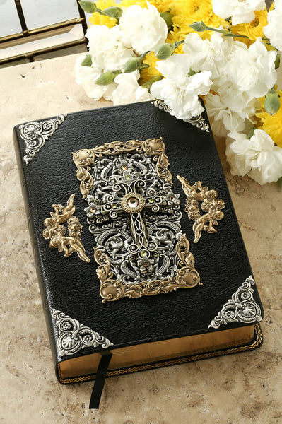 Peridot Crystals Decorated Cross Leather Bible KJV