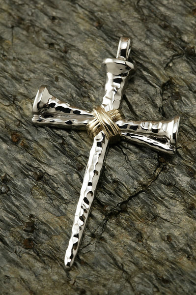Sterling Silver and 14K Gold Two Tone Nail Cross Pendant-XL