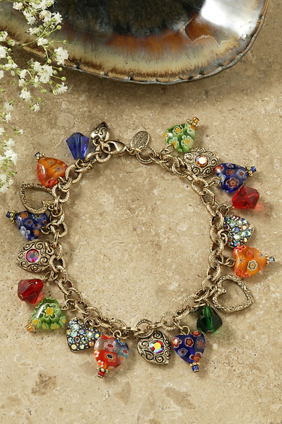 Charm Bracelet-Little Candy Glass Hearts
