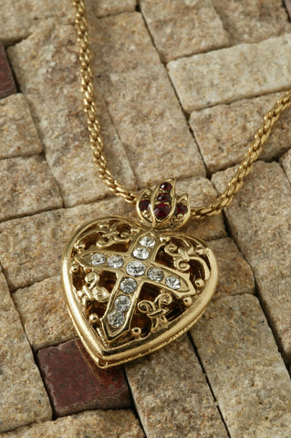 Filigree Heart Cross Locket