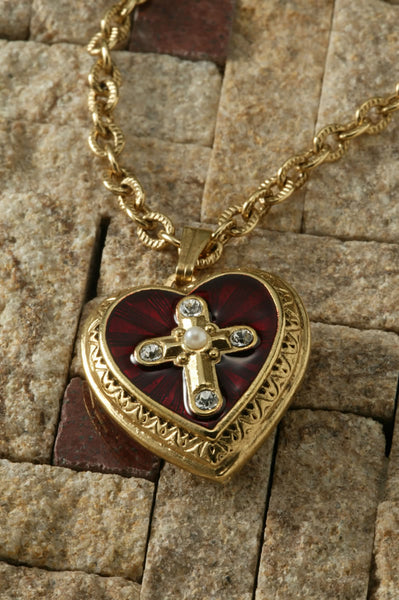 Cross of Glory Heart Locket Necklace-14K Gold-Dipped Red Enamel