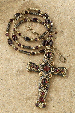 "Gold and Garnet Crystal 3"" Cross Pendant"