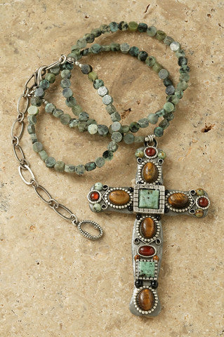 "African Safari Turquoise 3"" Cross Pendant"