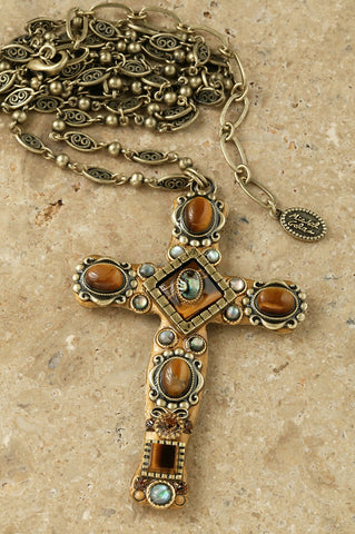 "Tiger's Eye 3"" Cross Pendant"