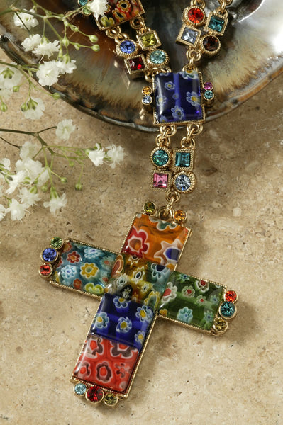 Candy Glass Cross Pendant