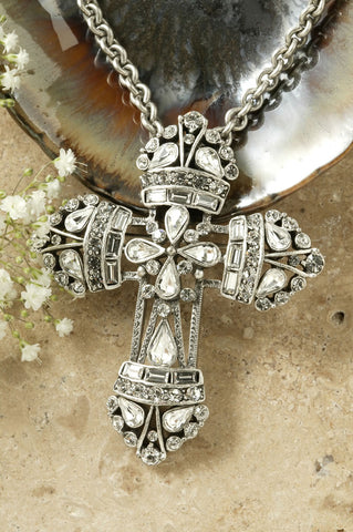 Large Neo Renaissance Clear Crystal Cross Pin Pendant
