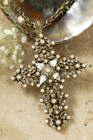 Pearl Lace Crystal Cross Pendant