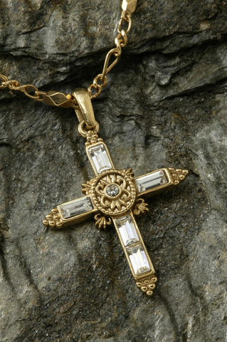 Elegant Crystal Cross Gold Necklace