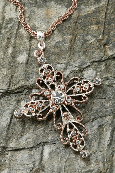 Rose Gold and Crystal Cross Necklace