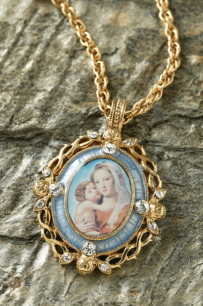 14K GOLD-DIPPED CRYSTAL BLUE ENAMEL MARY AND CHILD PENDANT NECKLACE 24 INCHES