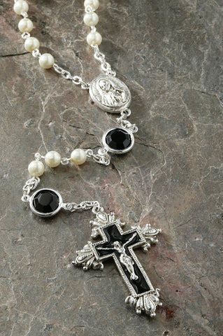 New Year Sale ON SALE Jet Black Swarovski® Crystal Chanel Rosary