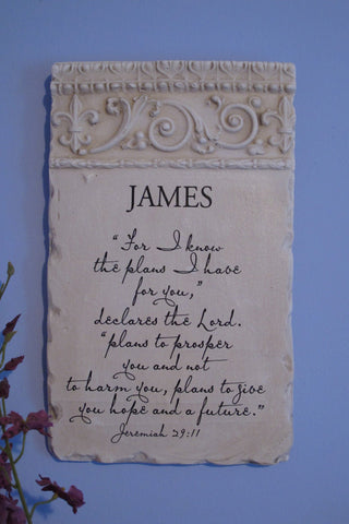 Personalized Name Plaque Jeremiah 29:11 Full Verse
