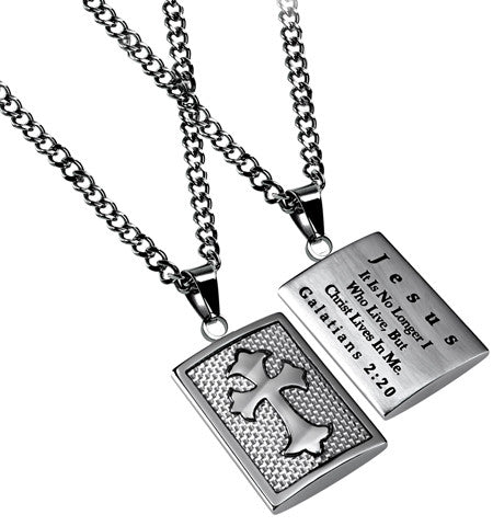 White Deluxe Shield Cross Christ in Me Necklace-Galatians 2:20