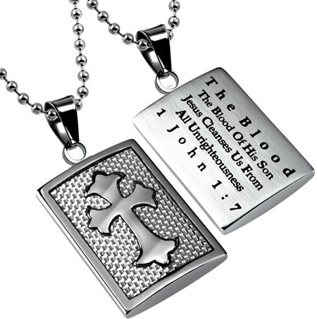 White Deluxe Shield Cross Cleansed Necklace-1 John 1:7