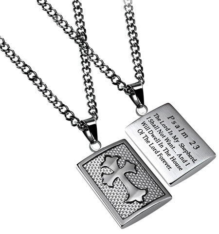 White Deluxe Shield Cross Lord is my Shepherd Necklace-Psalms 23
