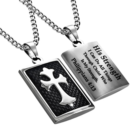 Deluxe Shield Cross Black Carbon Fiber-His Strength Philippians 4:13