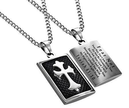 Black Deluxe Shield Cross Fear Not Necklace-Isaiah 41:10