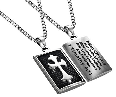 Black Deluxe Shield Cross Man of God Necklace-1 Timothy 6:11