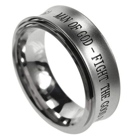 "Spinner Silver Ring ""Man Of God"""