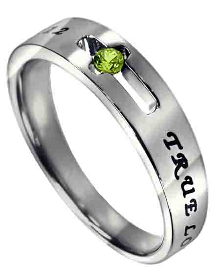Purity Solitaire Ring with August CZ- Peridot Birthstone