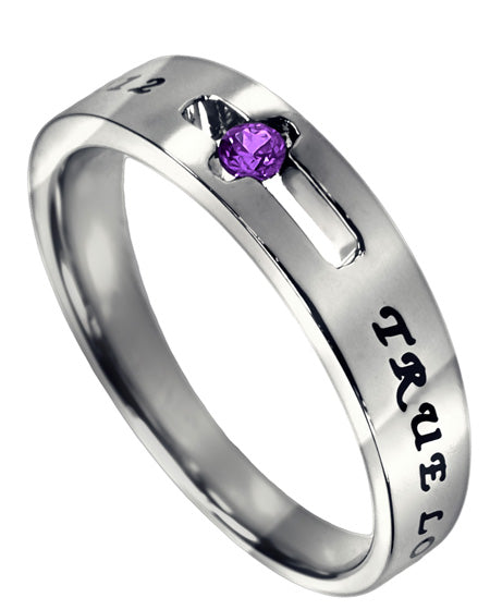 Purity Solitaire Ring with Pink Sapphire CZ-October Birthstone