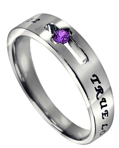 Purity Solitaire Ring with Amethyst CZ- February Birthstone