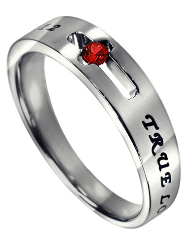 Purity Solitaire Ring with Garnet CZ-January Birthstone