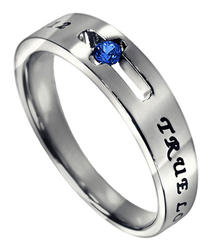 Purity Solitaire Ring with Sapphire CZ- September Birthstone
