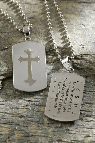 Silver Steel Shield Cross Necklace John 14:6