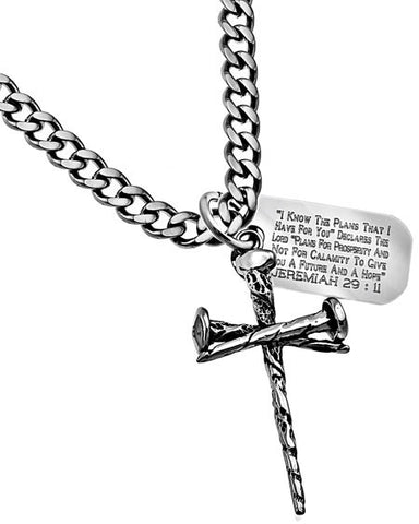 3 Nail Cross and Dog Tag Necklace-Jeremiah 29:11