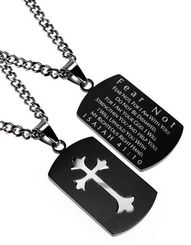 Black Shield Cross Necklace Isaiah 41:10 Fear Not