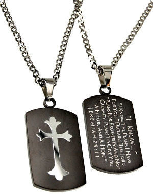 Black Shield Cross Necklace I Know Jeremiah 29:11
