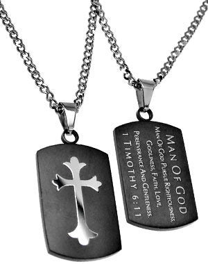 "Black Shield Cross Necklace Man of God 1 Tim 6:11 with 20"" Upgrade Chain"