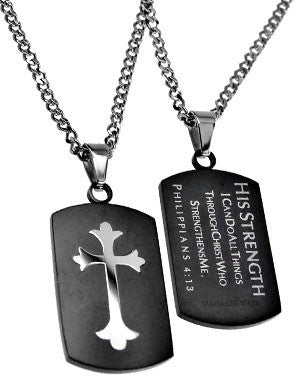 Black Shield Cross Necklace His Strength Philippians
