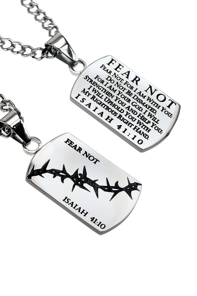 Crown of Thorns Dog Tag Fear Not Isaiah 41:10 Curb Chain