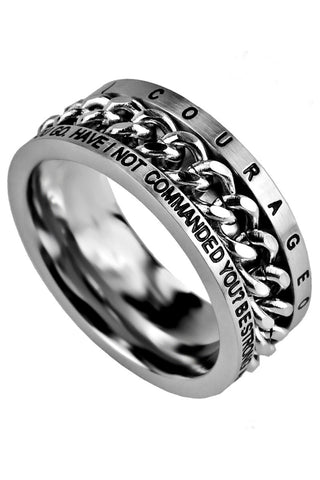 Chain Ring Strong & Courageous Joshua 1:9