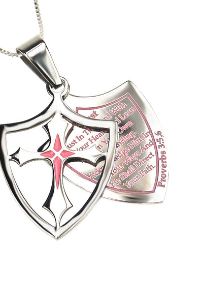 2 Piece Shield Cross Trust Necklace Proverbs 3:5,6 - Pink