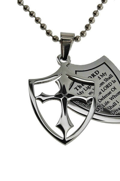 2 Piece Shield Cross Necklace Fear? Psalm 27:1