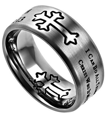 Neo Silver Ring His Strength Philippians 4:13