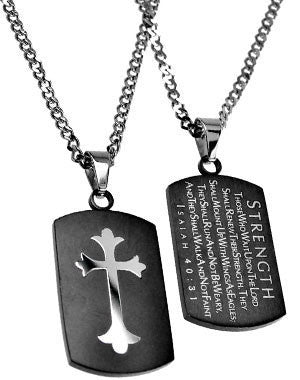 "Black Shield Cross Necklace Strength Isaiah 40:31 with 20"" Upgrade Chain"