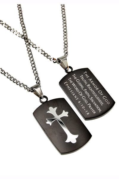 "Black Shield Cross Necklace Armor of God with 20"" Upgrade Chain"